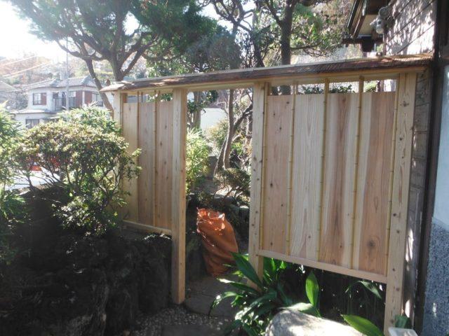 門扉・庭木戸制作 施工中の様子